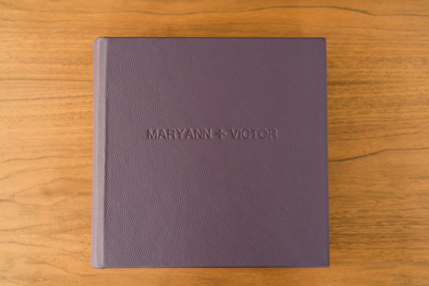 Purple Leather Cover Heirloom Wedding Album