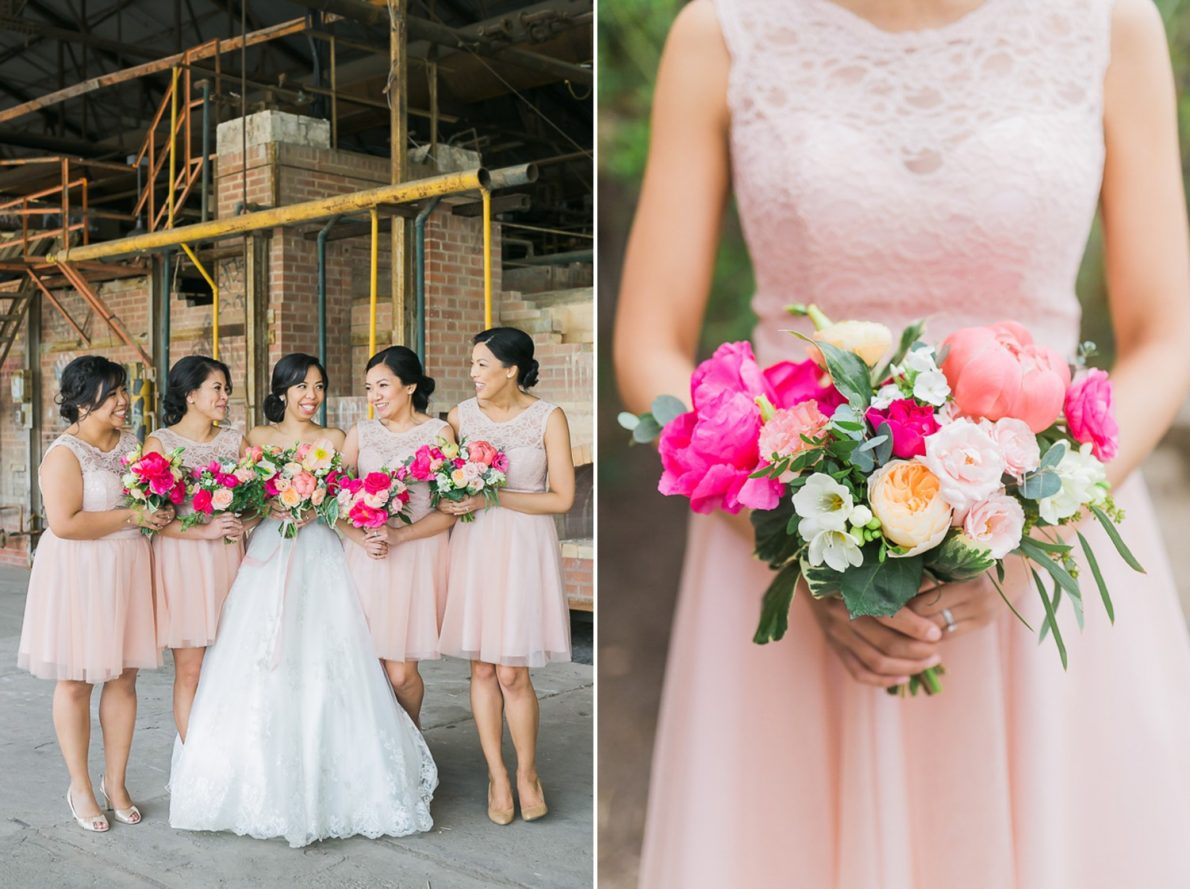 Bridesmaids and flowers Distillery District Fermenting Cellar Candle Lit Toronto Wedding Photography