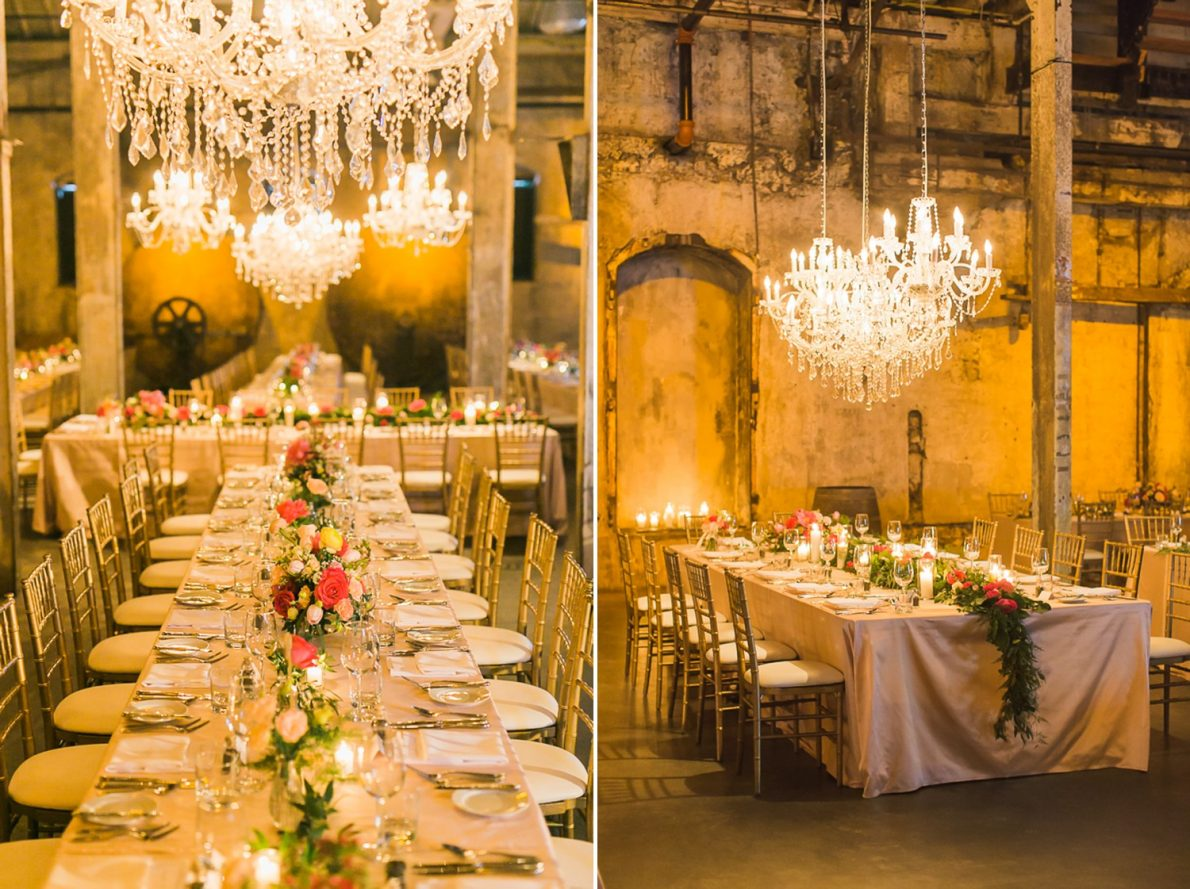 Wedding Decor Distillery District Fermenting Cellar Candle Lit Toronto Wedding Photography