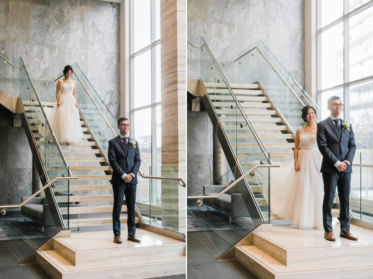 First Look at Concord City Place Toronto Wedding Photographer