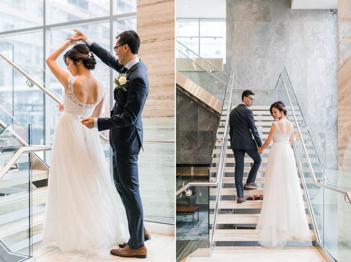 Bride and Groom first look at Concord City Place Toronto Wedding Photographer