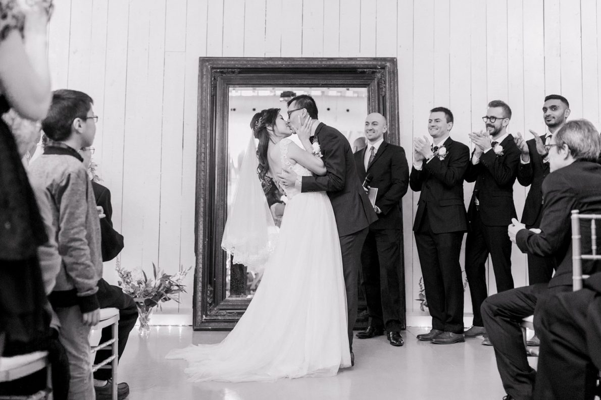 Indoor Ceremony First Kiss Berkeley Fieldhouse Toronto Wedding Photographer