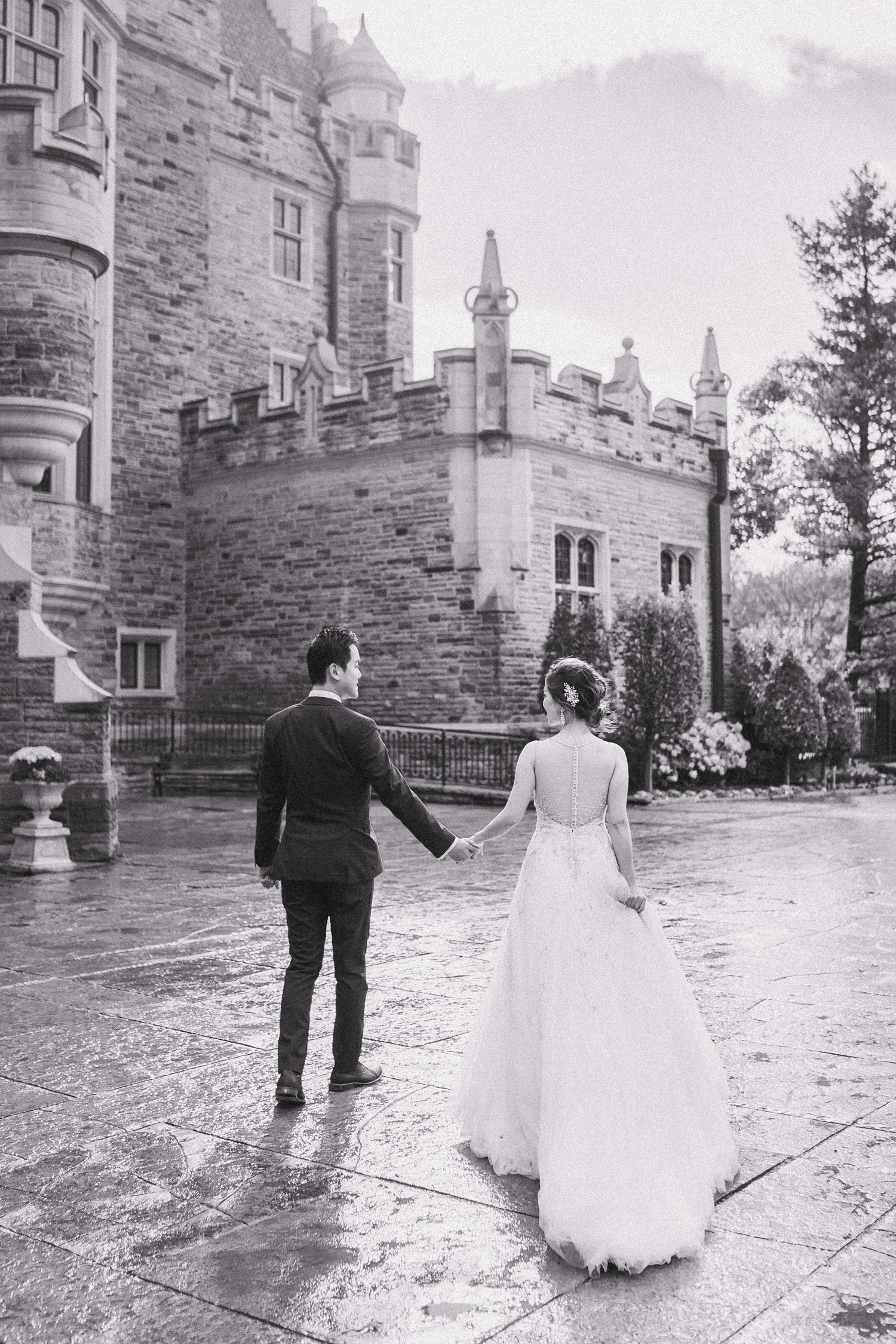 Cloudy Bride and Groom at Castle Casa Loma Wedding Toronto Wedding Photographer