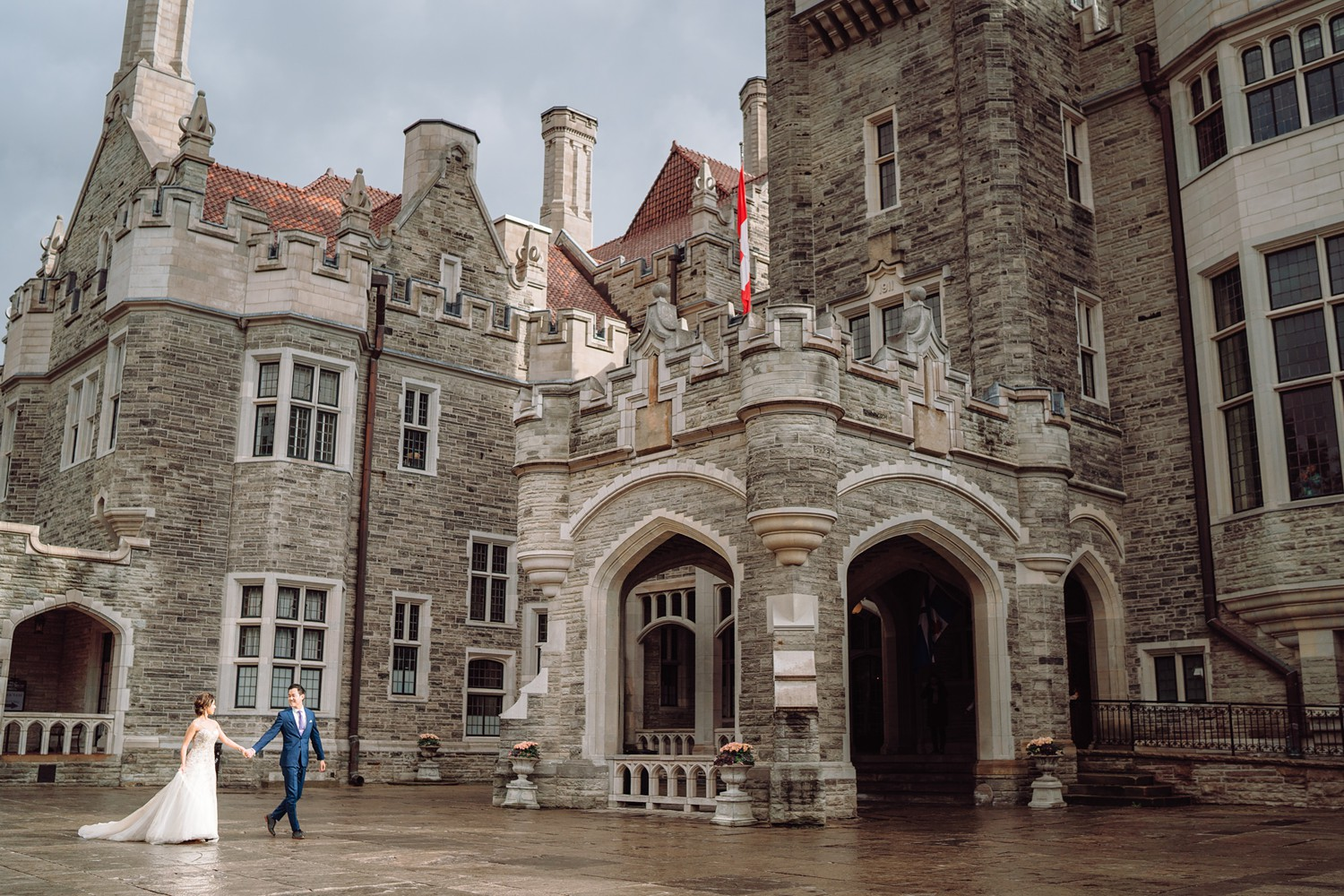 Raining Wedding Bride and Groom at Castle Casa Loma Wedding Toronto Wedding Photographer
