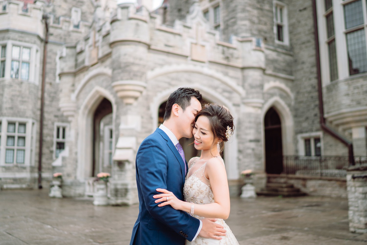 Rainy Wedding Day Bride and Groom at Castle Casa Loma Wedding Toronto Wedding Photographer