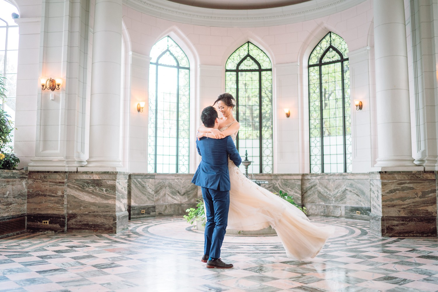 Bride and Groom at Castle in Observatory Casa Loma Wedding Toronto Wedding Photographer