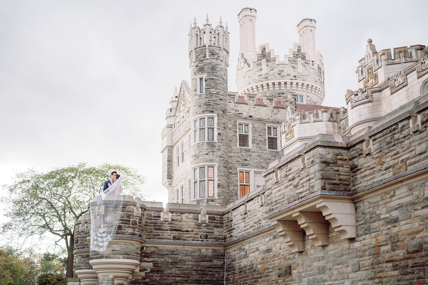 Epic Wedding Veil Bride and Groom at Castle Casa Loma Wedding Toronto Wedding Photographer