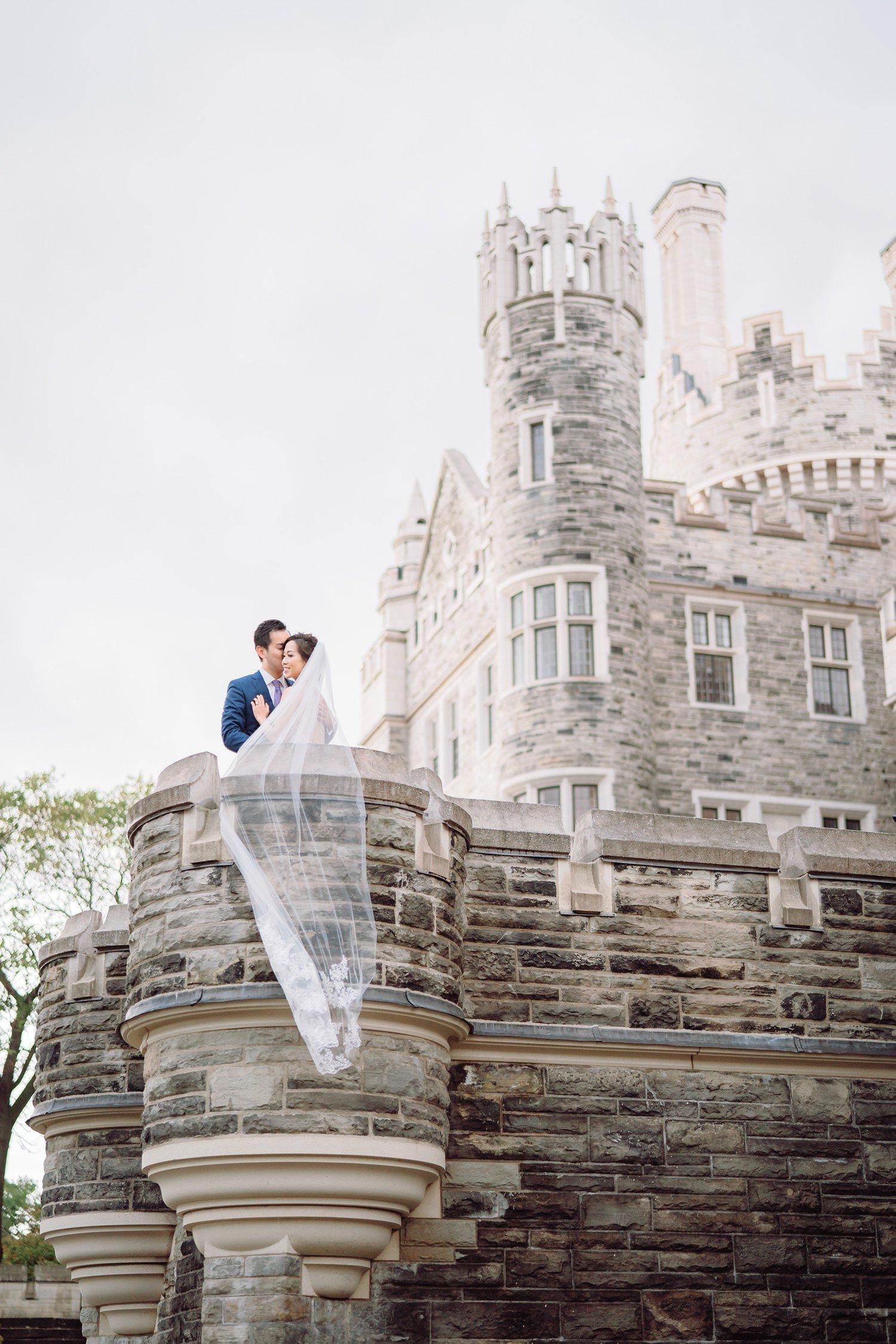 Bridal Veil Bride and Groom at Castle Casa Loma Wedding Toronto Wedding Photographer