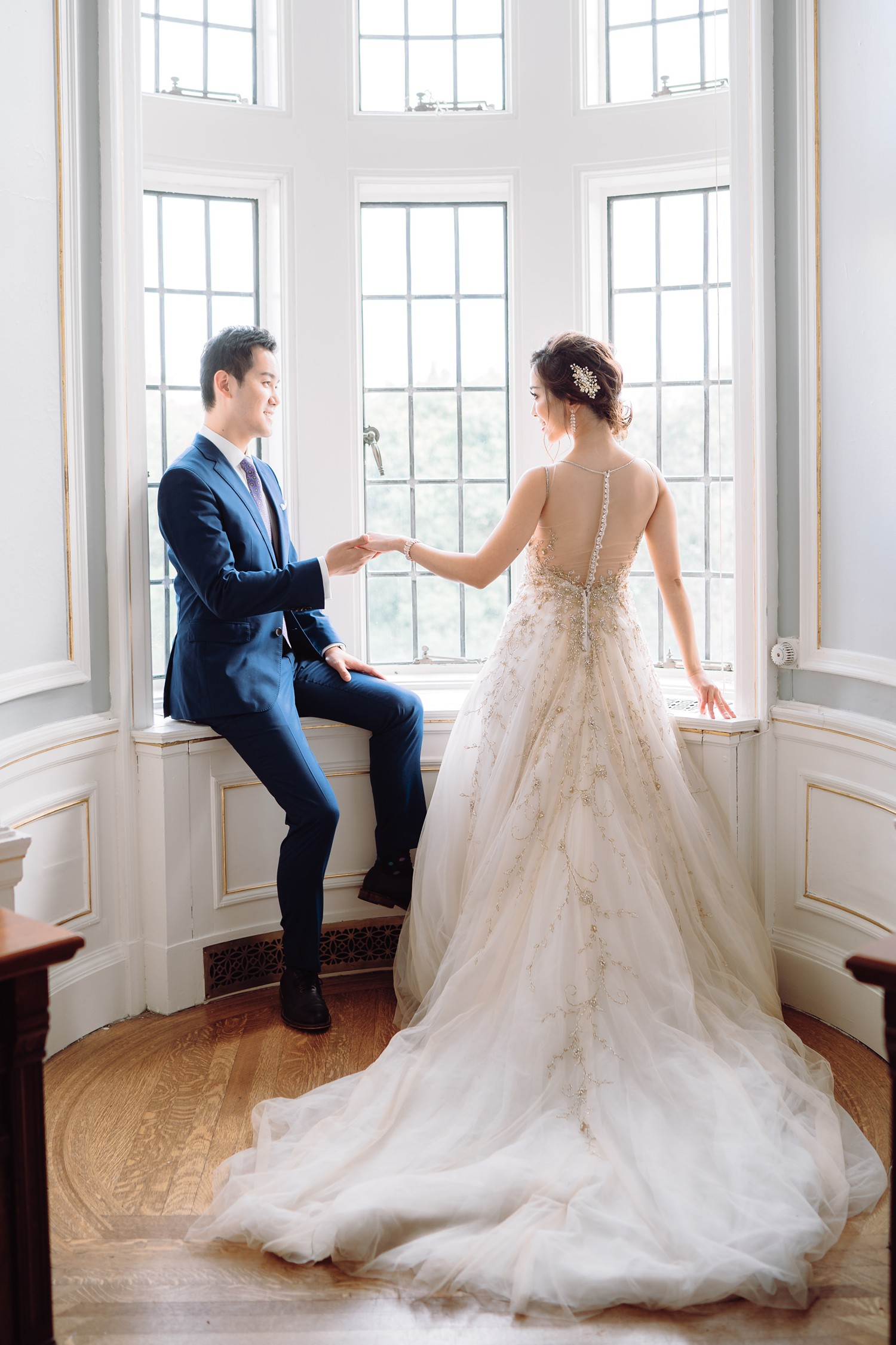 Bridal Suite with Bride and Groom at Castle Casa Loma Wedding Toronto Wedding Photographer