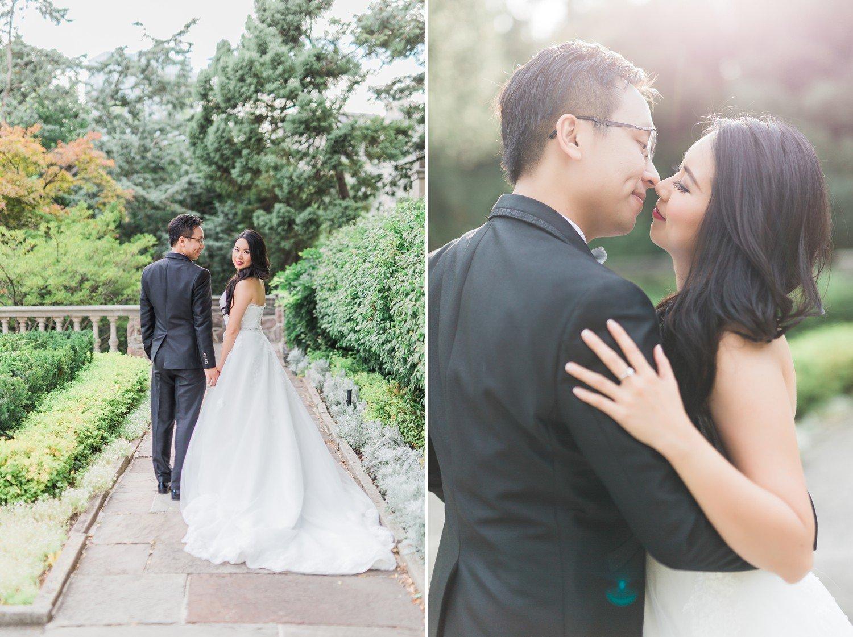 Sunset Bride and Groom Romantic Graydon Hall Manor PreWedding Photos Toronto International Wedding Photographer