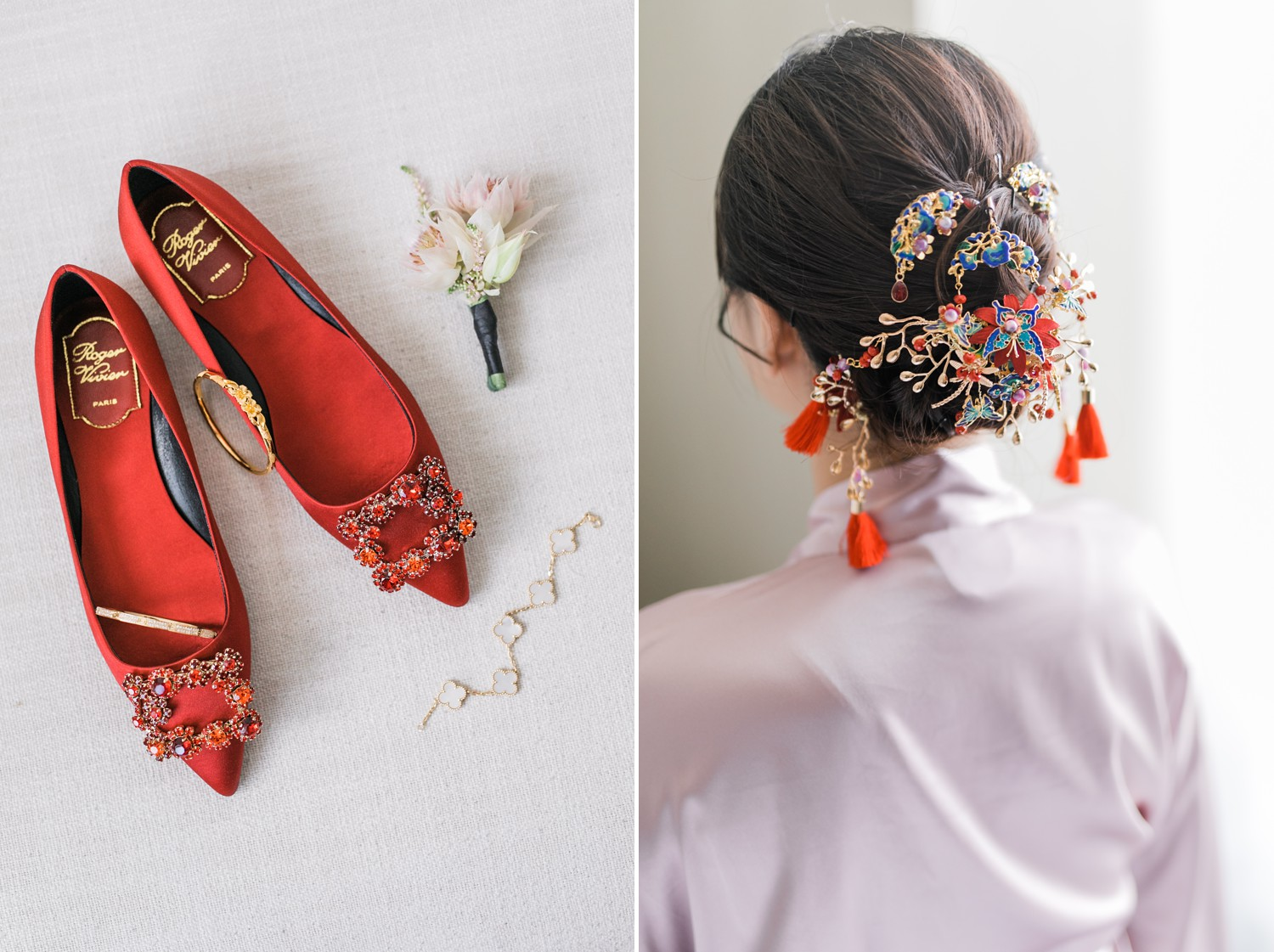 Roger Vivier Red Flats and Van Cleef Bracelet Luxury Yorkville Vinci Toronto Four Season Wedding Photos with Chinese Bride and Groom