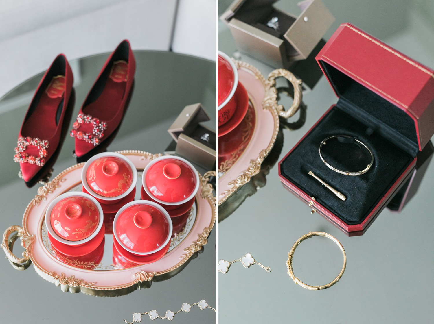 Roger Vivier Red Flats, Cartier Bracelet, Van Cleef Bracelet, Tea Ceremony at Luxury Yorkville Vinci Toronto Four Season Wedding Photos with Chinese Bride and Groom
