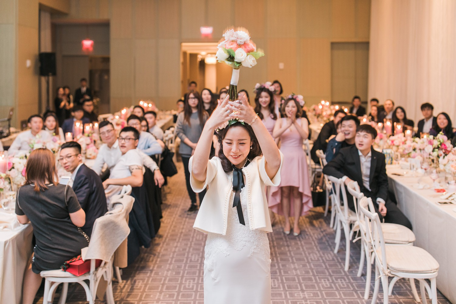 Bouquet Toss Vinci Room Luxury Yorkville Toronto Four Season Hotel Wedding Photos with Chinese Bride and Groom
