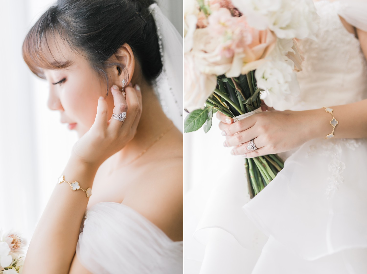 Bridal Portraits with Van Cleef Bracelet and AngelaBaby Wedding Ring Luxury Yorkville Vinci Toronto Four Season Hotel Wedding Photos with Chinese Bride and Groom