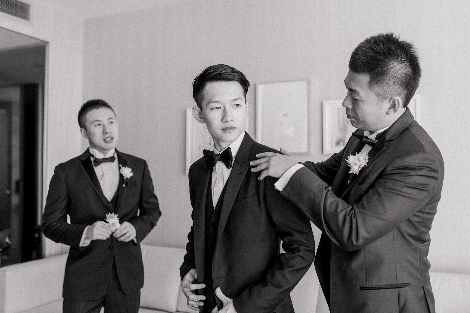 Groom Portraits Luxury Yorkville Vinci Toronto Four Season Hotel Wedding Photos with Chinese Bride and Groom