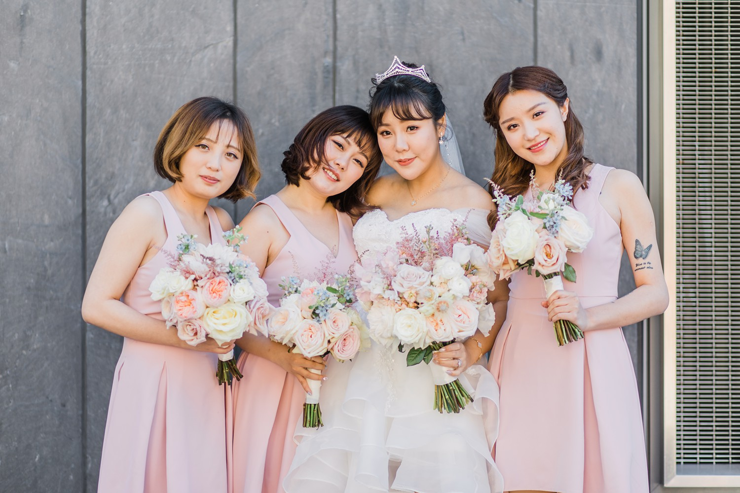 Bridesmaids at Luxury Yorkville Vinci Toronto Four Season Hotel Wedding Photos with Chinese Bride and Groom