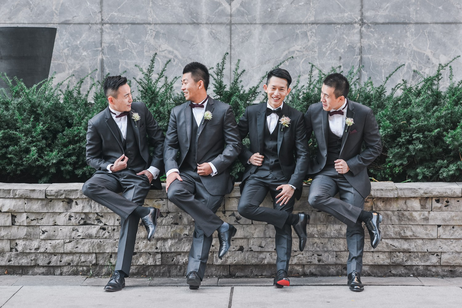 Groomsmen Portraits at Luxury Yorkville Vinci Toronto Four Season Hotel Wedding Photos with Chinese Bride and Groom