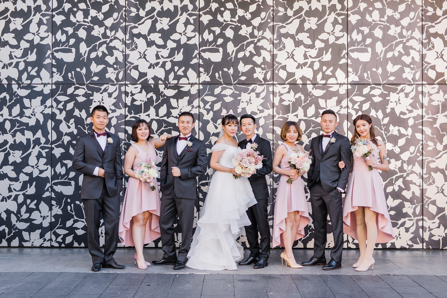 Wedding Party Photos at Luxury Yorkville Vinci Toronto Four Season Hotel Wedding Photos with Chinese Bride and Groom