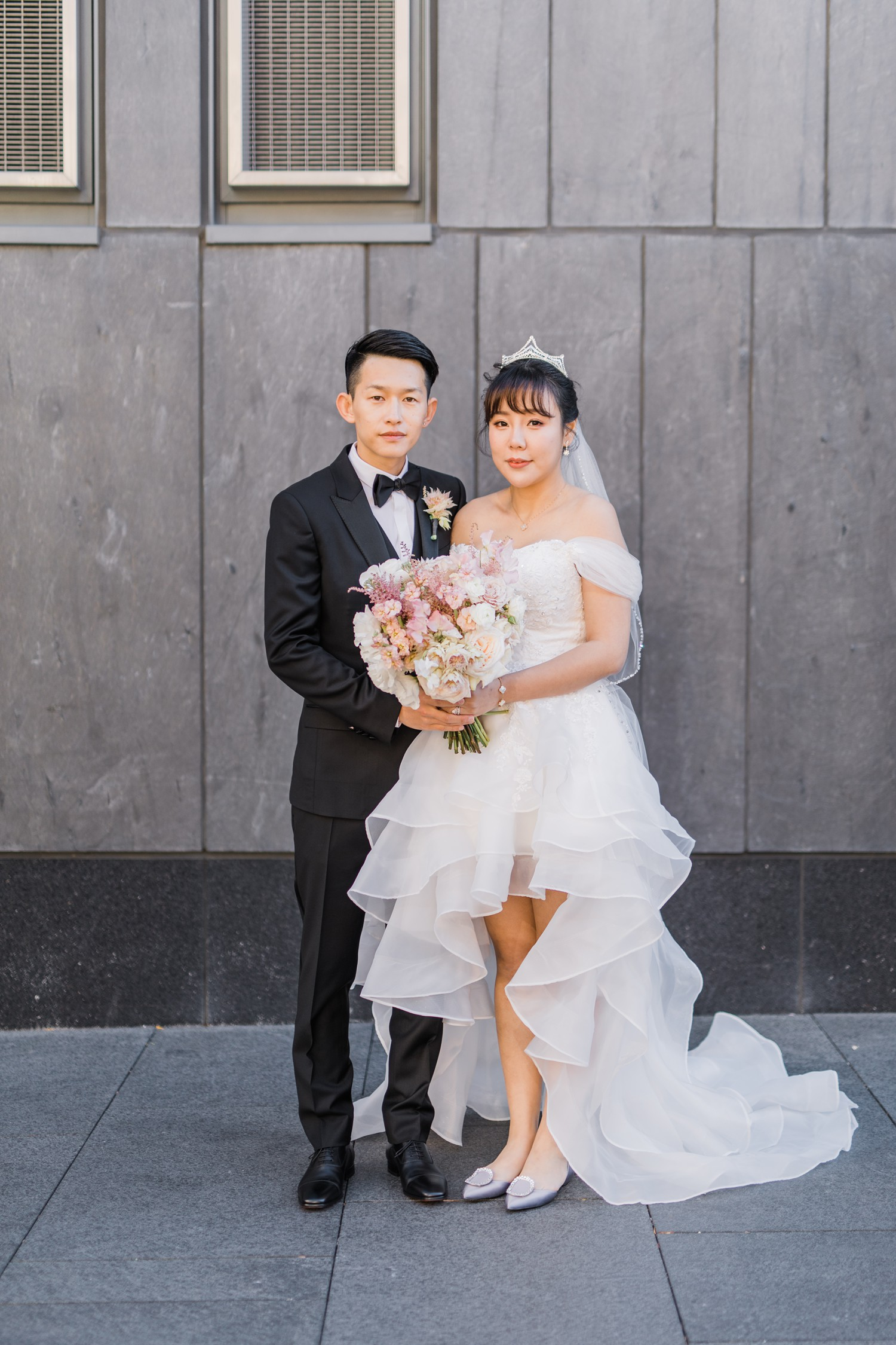 Wedding Portraits with Roger Vivier Flats at Luxury Yorkville Vinci Toronto Four Season Hotel Wedding Photos with Chinese Bride and Groom
