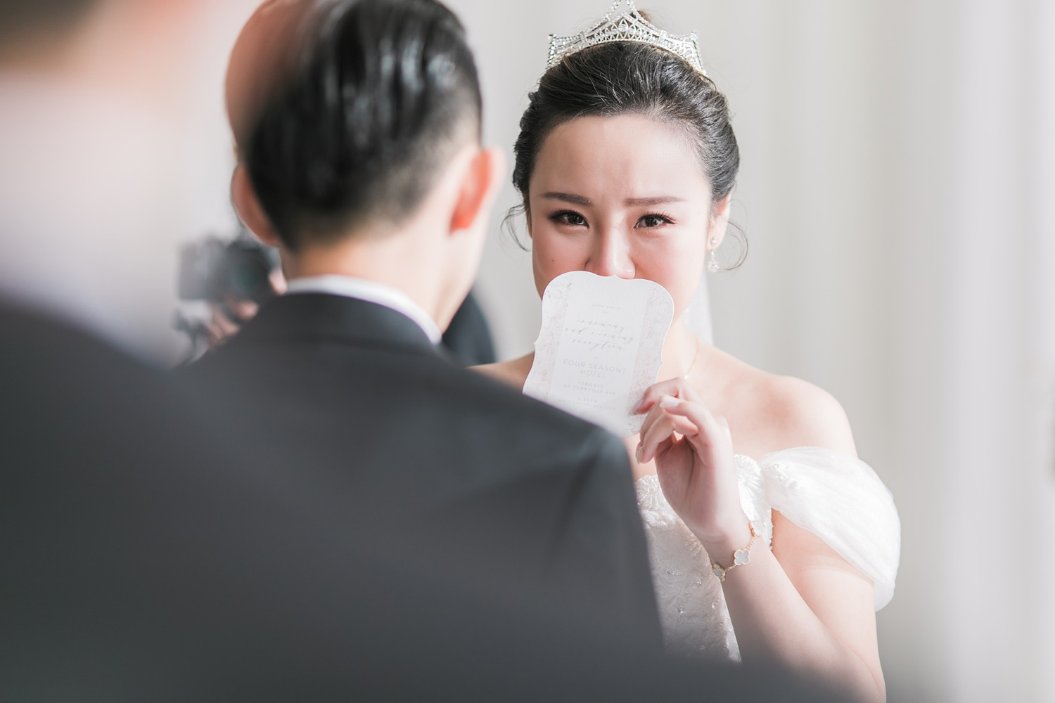 Tearing Bride Wedding Ceremony Vinci Room Luxury Yorkville Toronto Four Season Hotel Wedding Photos with Chinese Bride and Groom