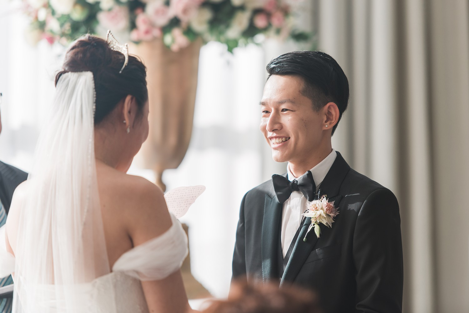 Happy Groom at Wedding Ceremony Vinci Room Luxury Yorkville Toronto Four Season Hotel Wedding Photos with Chinese Bride and Groom