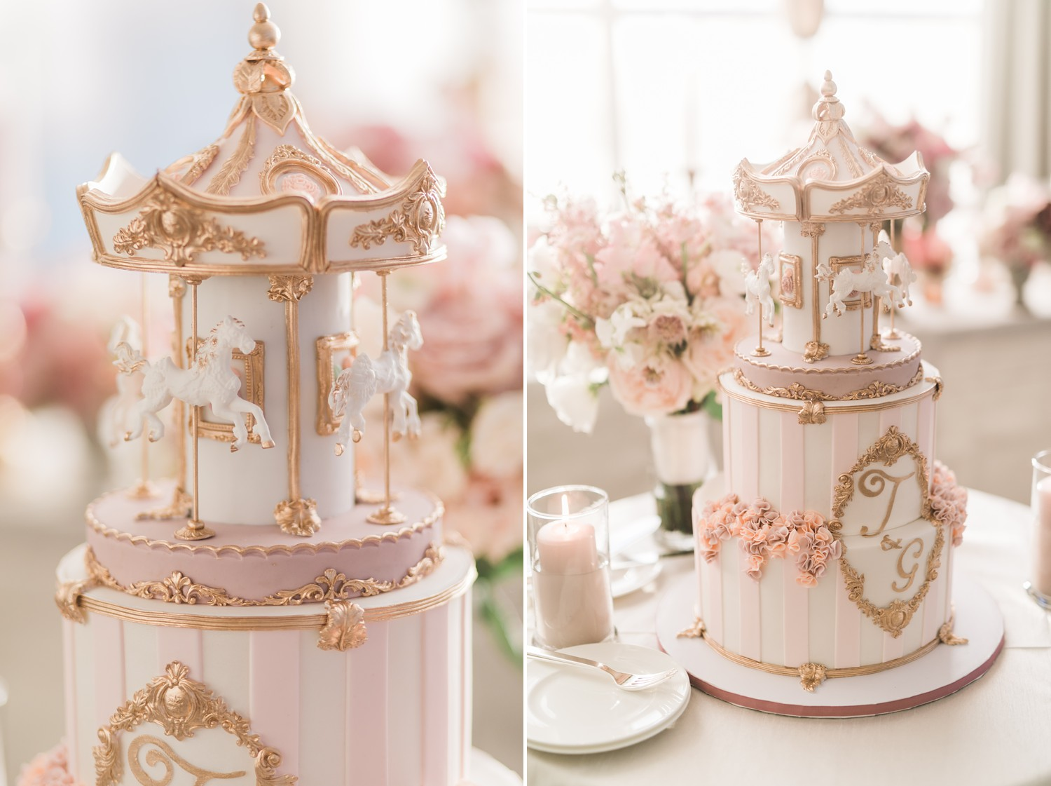 Pink and White Carousel wedding cake Reception Decor Vinci Room Luxury Yorkville Toronto Four Season Hotel Wedding Photos with Chinese Bride and Groom