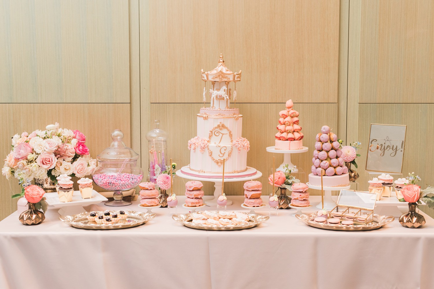 Dessert Table Vinci Room Luxury Yorkville Toronto Four Season Hotel Wedding Photos with Chinese Bride and Groom