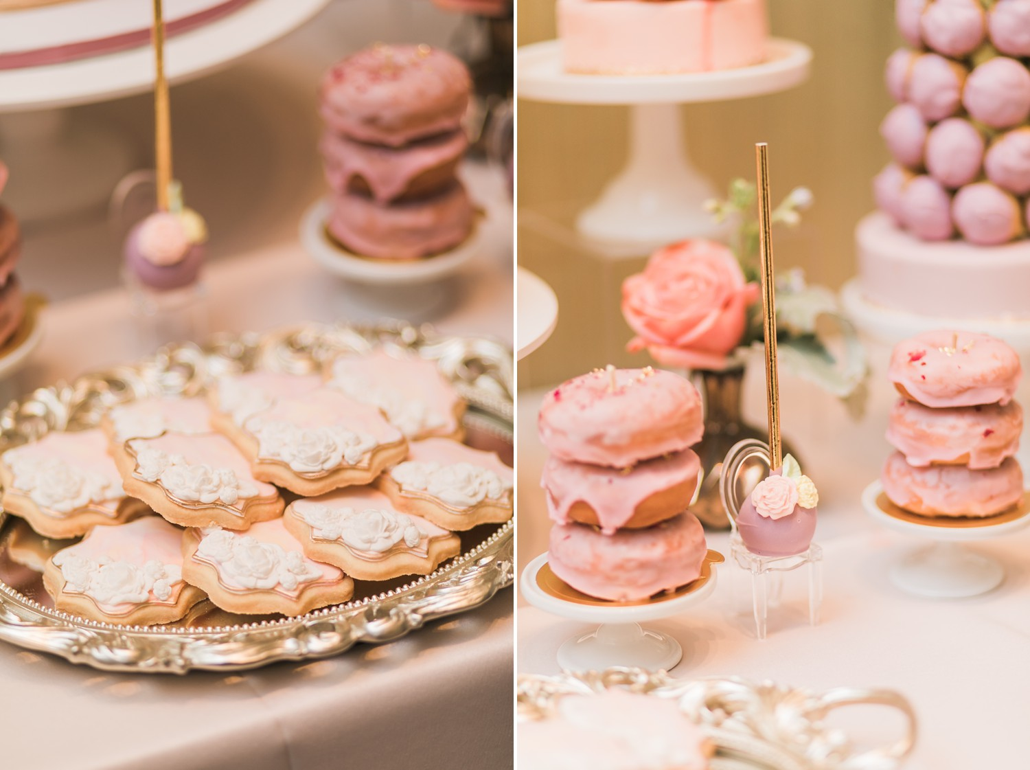 Pink Dessert Table Vinci Room Luxury Yorkville Toronto Four Season Hotel Wedding Photos with Chinese Bride and Groom