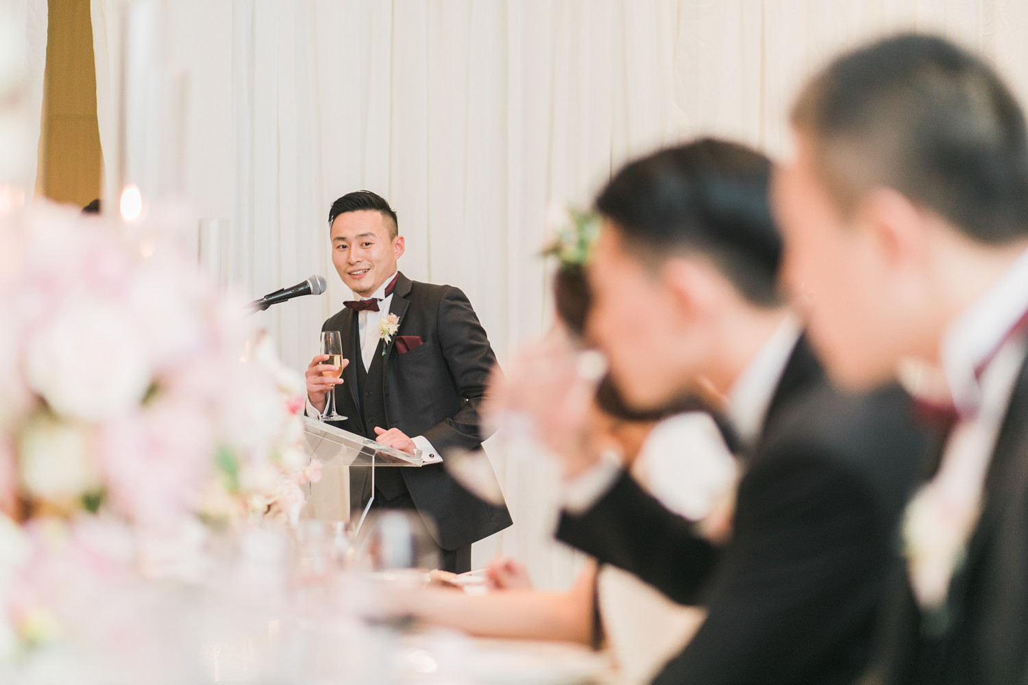 Wedding Speeches Vinci Room Luxury Yorkville Toronto Four Season Hotel Wedding Photos with Chinese Bride and Groom