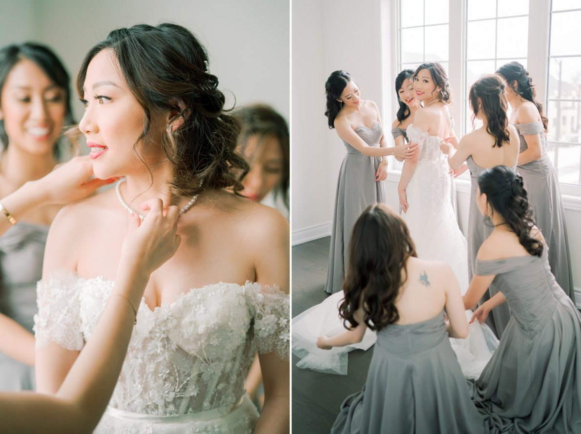 Bride putting on wedding dress Hong Kong Modern Guild Inn Wedding Photos