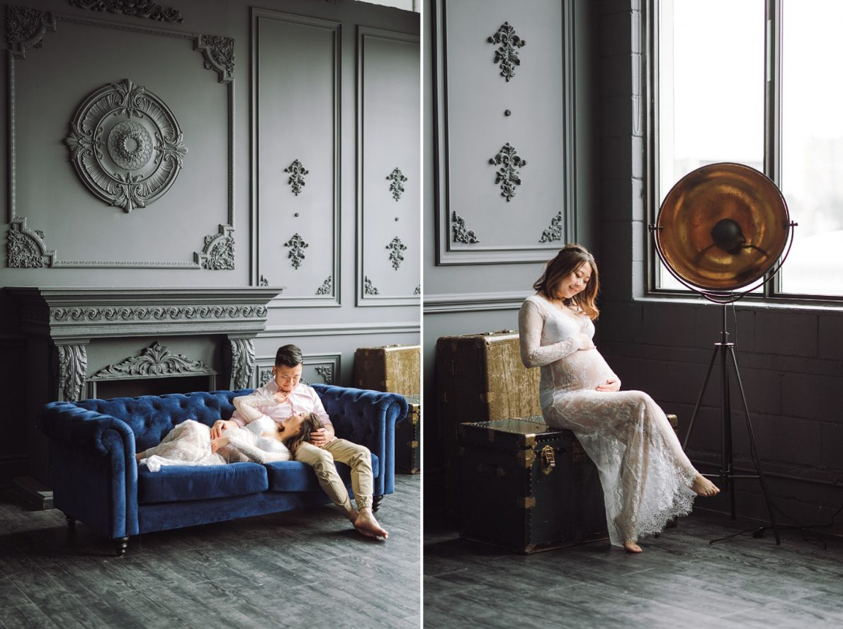 Modern Library Boudoir Mint Room Studio Toronto Maternity Photos