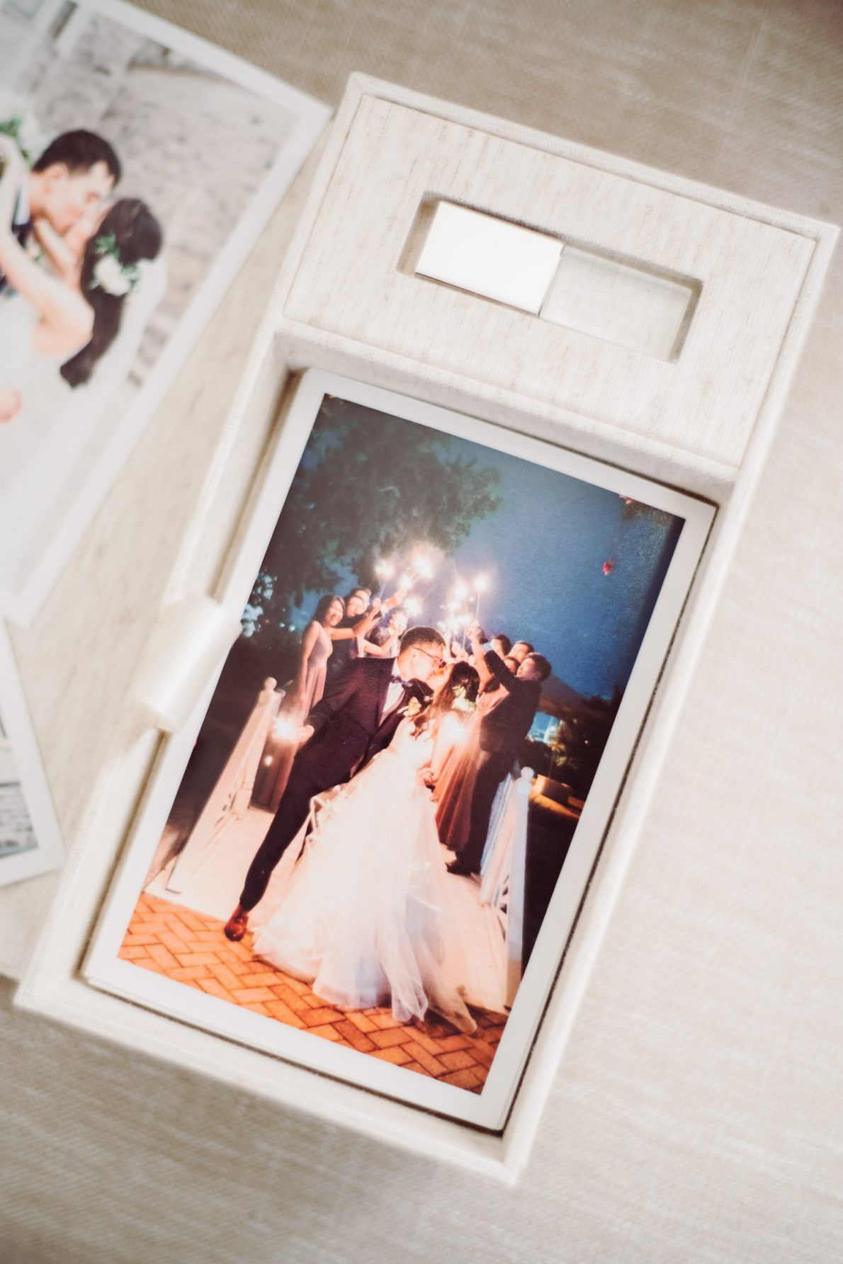 Handmade Linen Photo Box with USB Casa Loma Toronto Wedding Photos Sparkler Exit