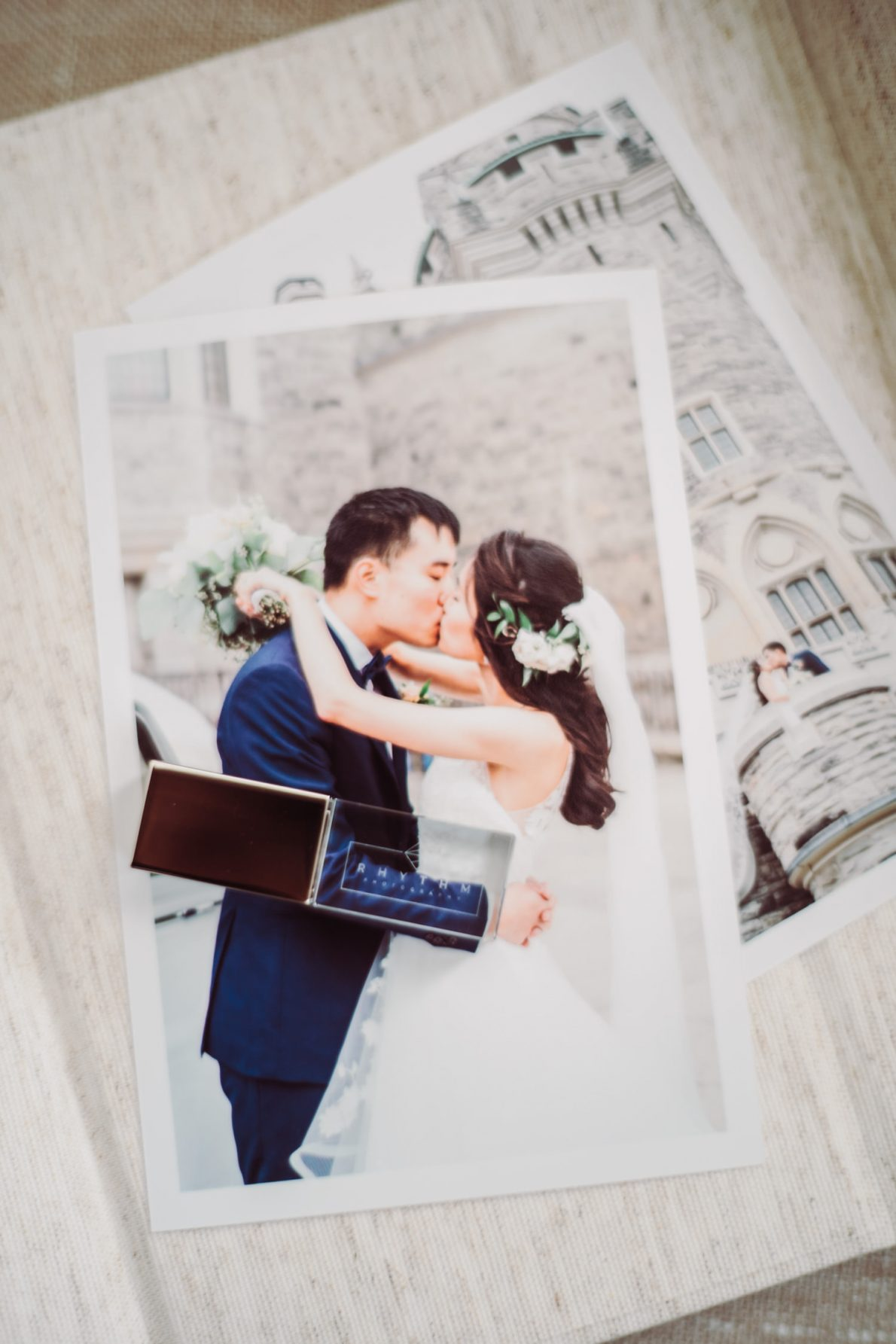 Handmade Linen Photo Box with USB Casa Loma Toronto Wedding Photos