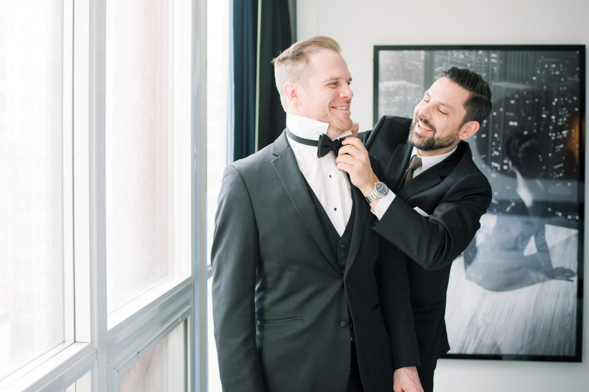 Bisha Hotel Groom Prep Downtown Financial District Winter Canoe Restaurant Toronto Wedding Photos-Rhythm_Photography