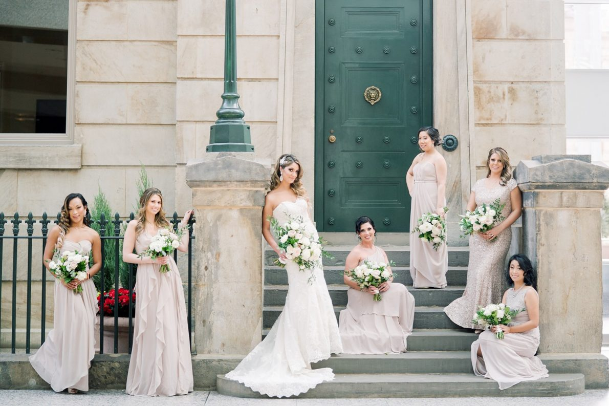 Bridal Party at Brookfield Place Downtown Financial District Winter Canoe Restaurant Toronto Wedding Photos-Rhythm_Photography