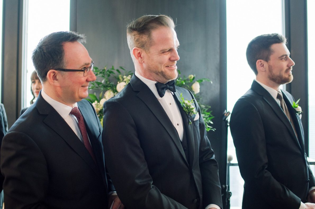First Look at Wedding Ceremony Downtown Financial District Winter Canoe Restaurant Toronto Wedding Photos-Rhythm_Photography