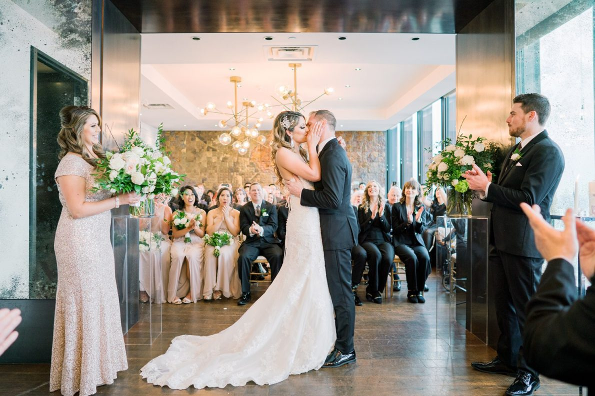 First Kiss Ismali Wedding Ceremony Downtown Financial District Winter Canoe Restaurant Toronto Wedding Photos-Rhythm_Photography