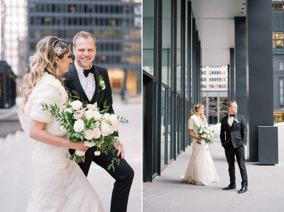 Bride and Groom Portrait at Downtown Financial District Winter Canoe Restaurant Toronto Wedding Photos-Rhythm_Photography