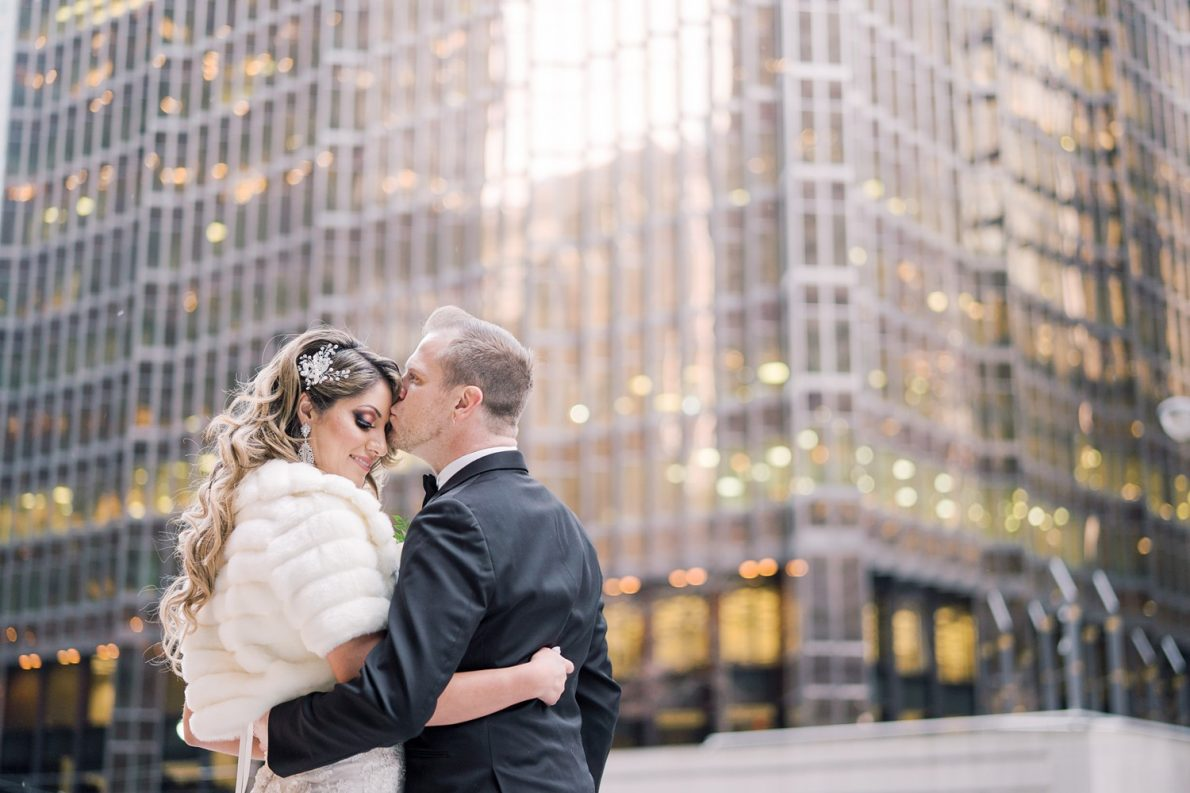 Bride and Groom Portrait at RBC Building Downtown Financial District Winter Canoe Restaurant Toronto Wedding Photos-Rhythm_Photography