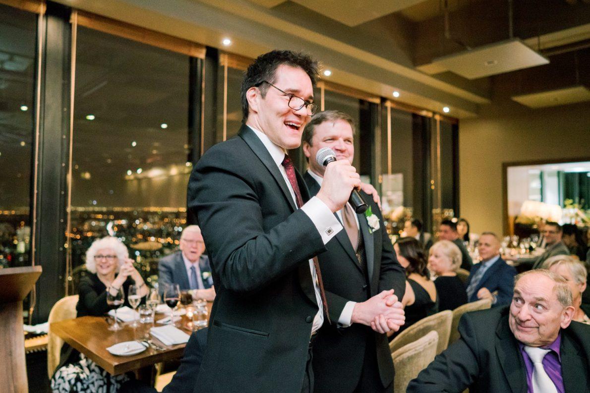 Wedding Reception Speech at Downtown Financial District Winter Canoe Restaurant Toronto Wedding Photos-Rhythm_Photography