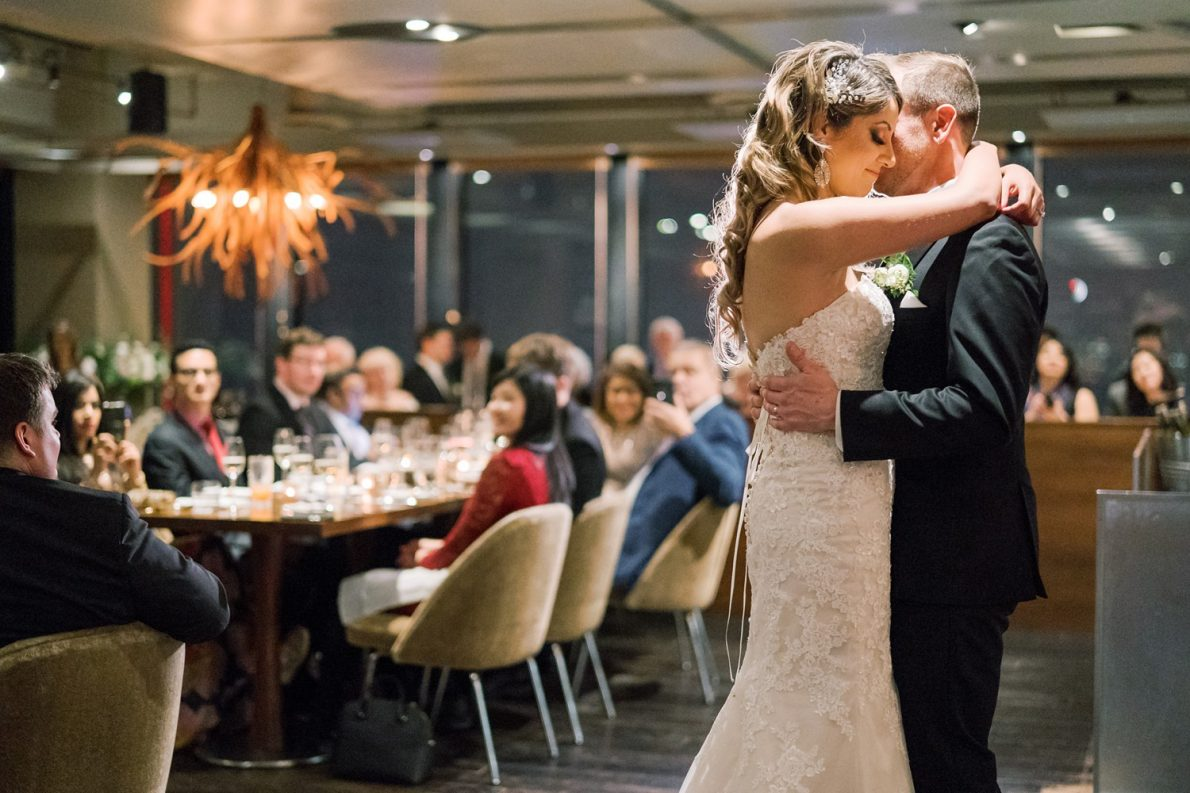 First Dance at Wedding Reception at Downtown Financial District Winter Canoe Restaurant Toronto Wedding Photos-Rhythm_Photography