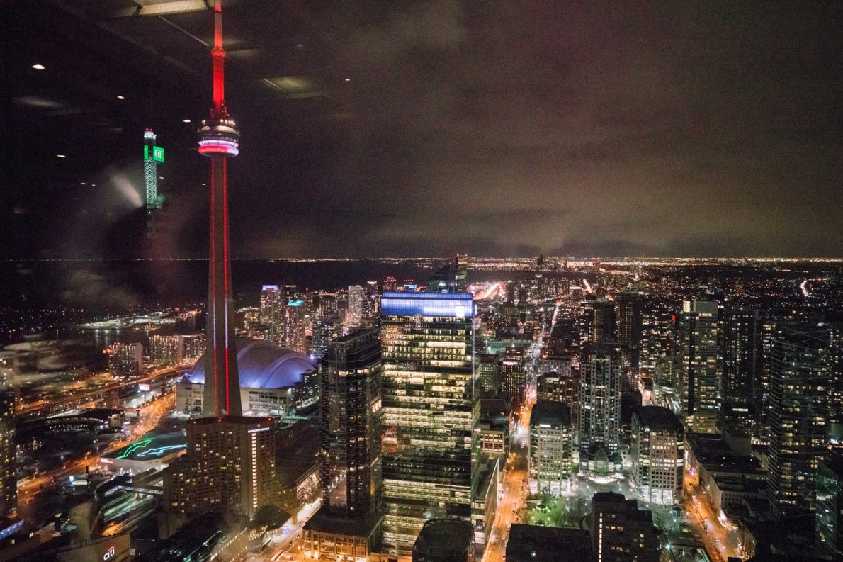 Toronto Skyline at Downtown Financial District Winter Canoe Restaurant Toronto Wedding Photos-Rhythm_Photography