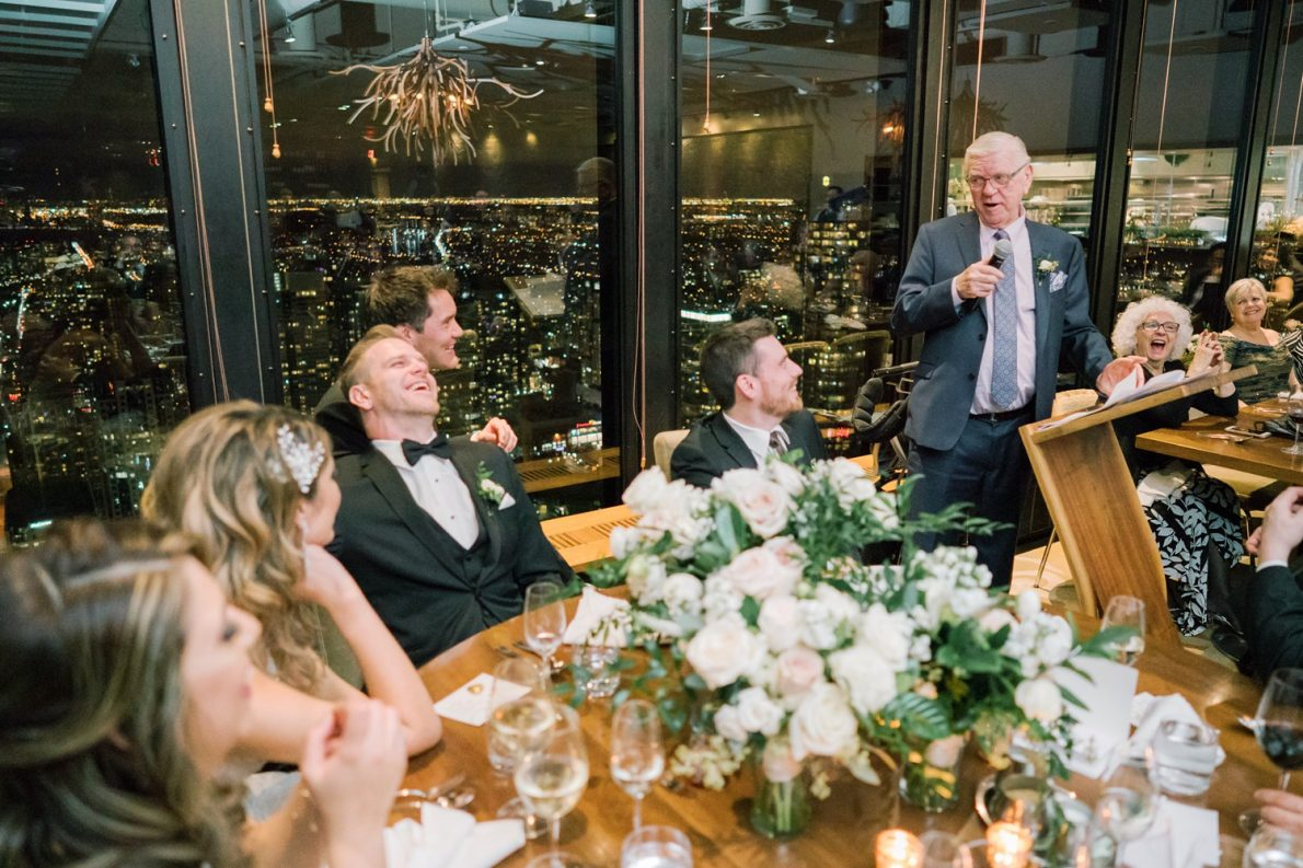 Speeches during Downtown Financial District Winter Canoe Restaurant Toronto Wedding Photos-Rhythm_Photography