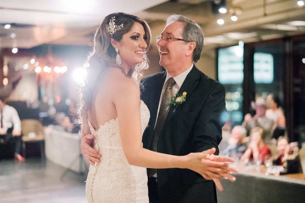 Father of Bride First Dance at Downtown Financial District Winter Canoe Restaurant Toronto Wedding Photos-Rhythm_Photography
