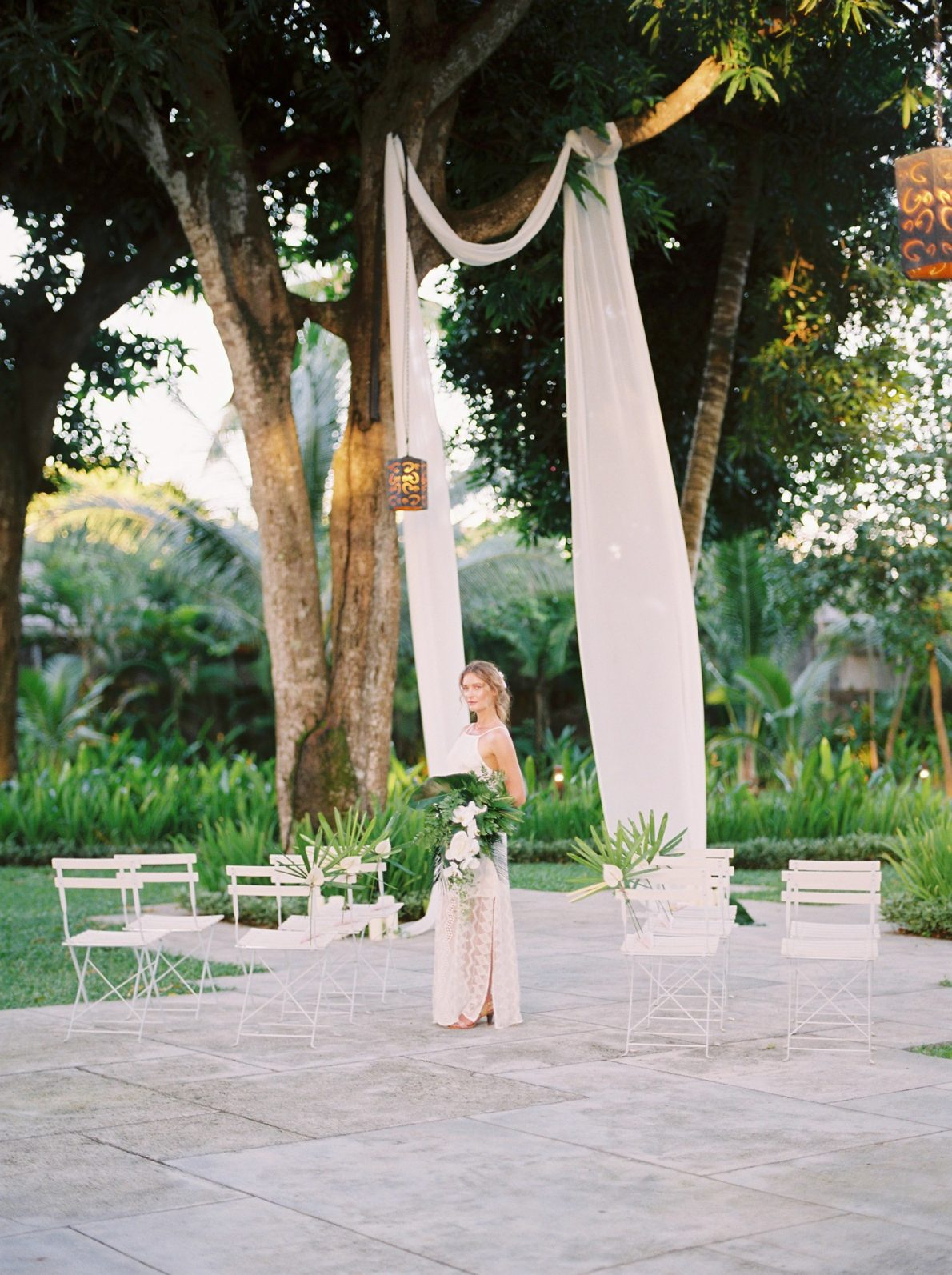 Outdoor Ceremony Ubud Bali Wedding Photos at Cuca Restaurant Jimbaran