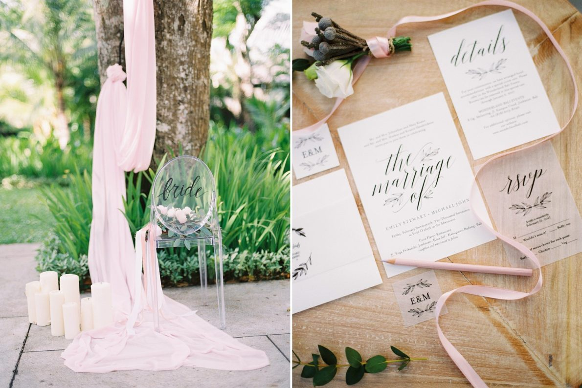 Wedding Invitation and Stationary Ubud Bali Wedding Photos at Cuca Restaurant Jimbaran