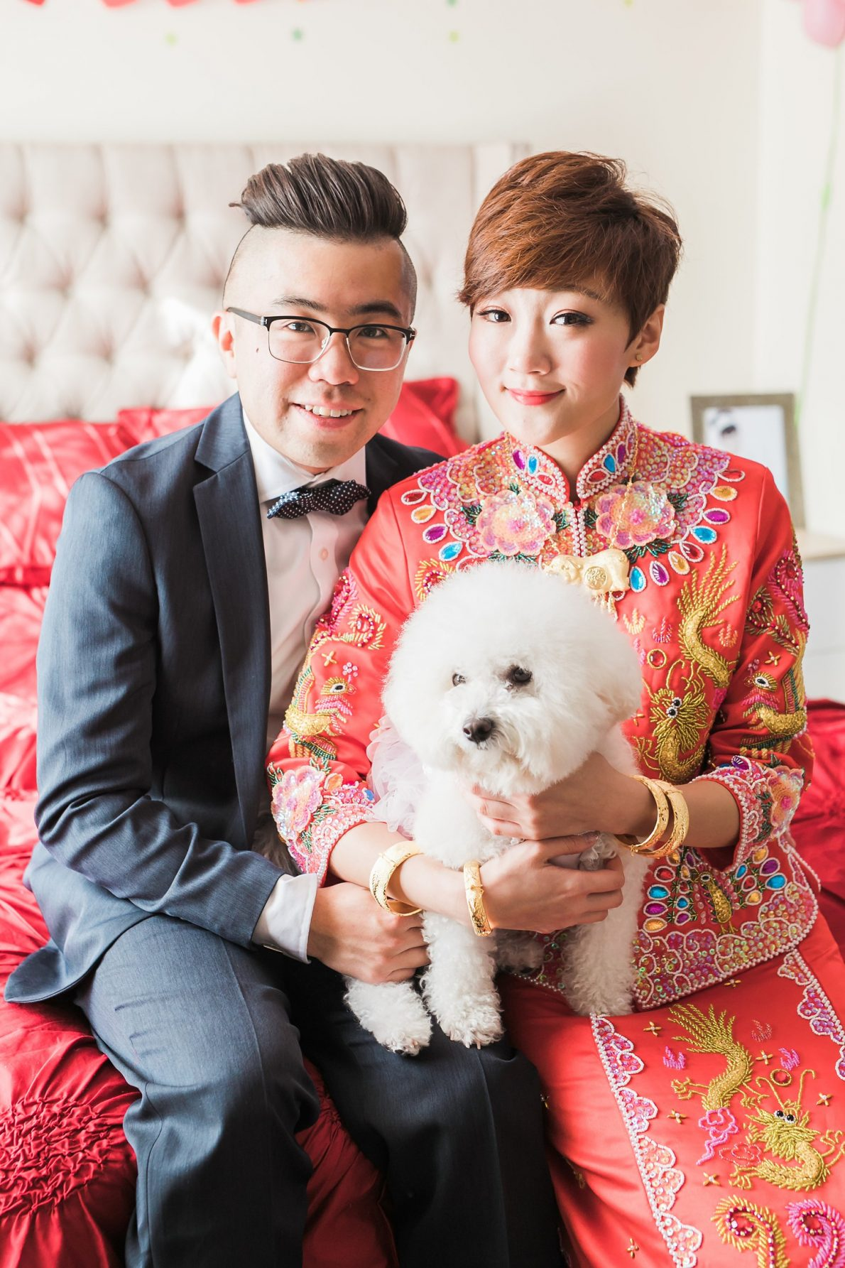 Chinese Couple with Bichon at Doctor's House Wedding Photos