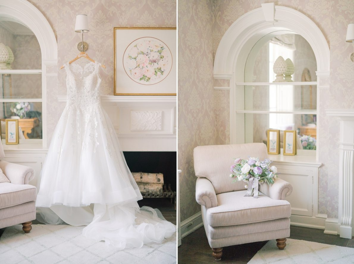 Wedding Dress and Silk Flowers at Estates of Sunnybrook McLean House Toronto Wedding Photos