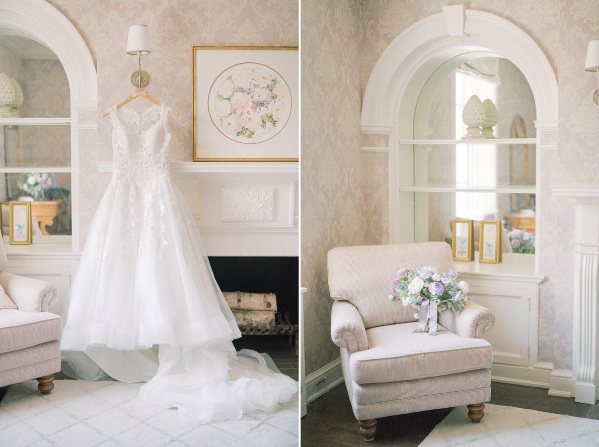 Wedding Dress and Silk Flowers at Estates of Sunnybrook McLean House Toronto Wedding Photos