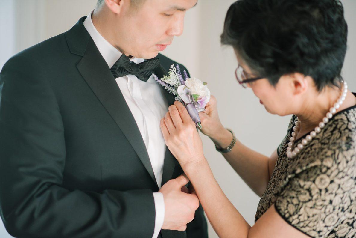 Groom and mom at Estates of Sunnybrook McLean House Toronto Wedding Photos